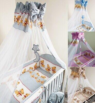 Bettset Baby 8-9 Tlg Bettwäsche Nestchen Himmelstange Fur Bett 120x60 Bear VerrüCkter Preis