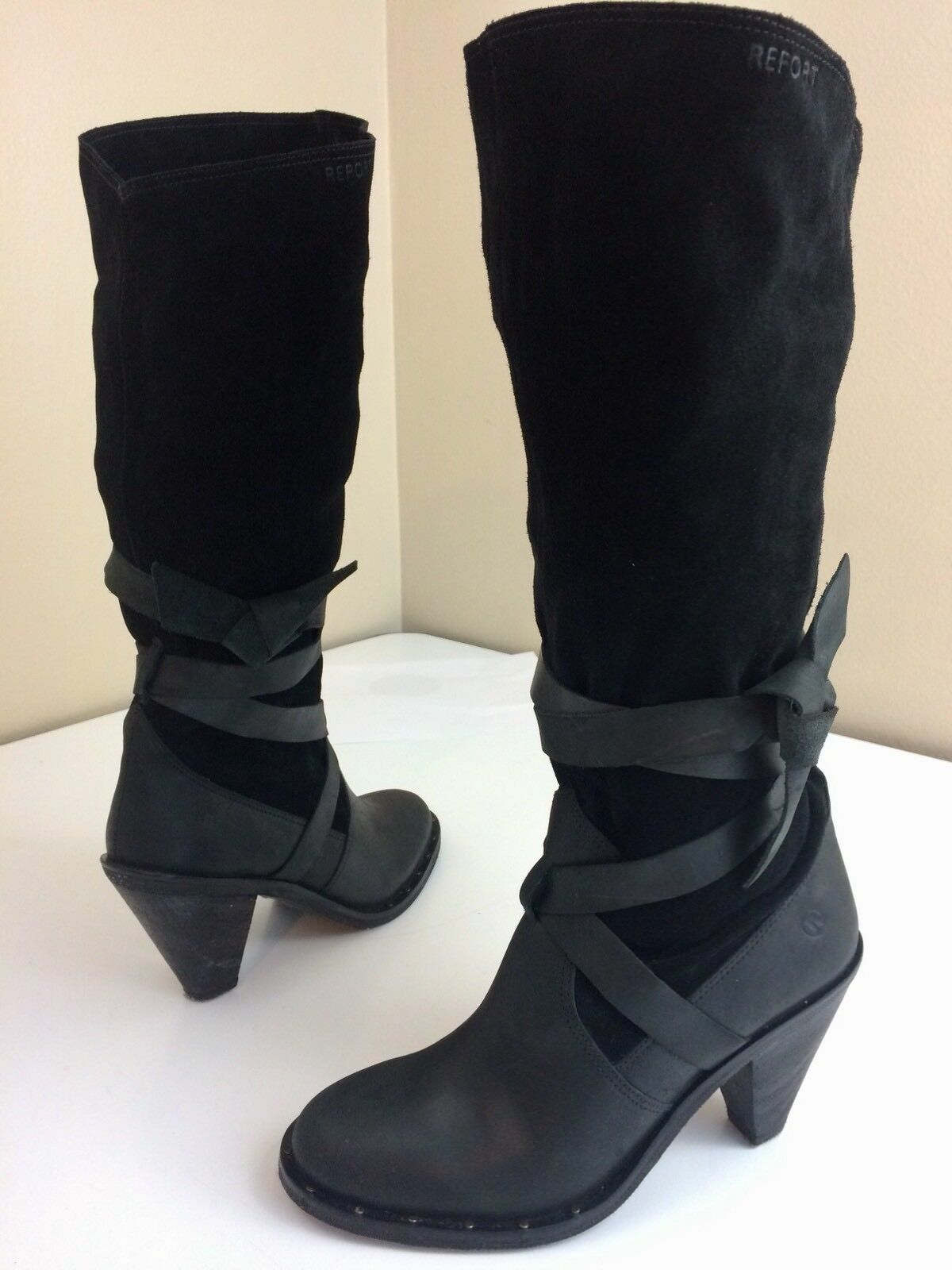 45f76667bc5a Report Lady Black SUEDE Leather TIE Up Up Up Knee Hi SLOUCH Fashion Boots  High Heels 9 064f81