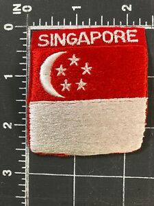 Details About Singapore National Flag Patch Red White Crescent Moon Stars Malaysia Singapura