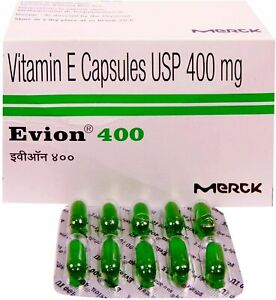 Evion Capsules Vitamin E for Glowing Face Strong Hair Nails Glow Acne Wrinkles