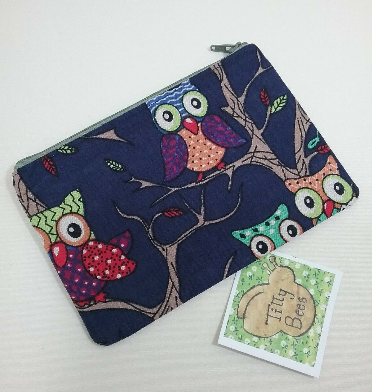 Ladies handmade navy owl lover pouch purse pencil case make up money lined gift