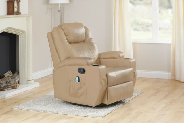 Leather Reclining Massage Cinema Gaming Armchair Two Cup Holders
