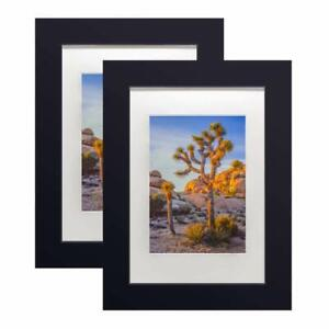 """A plus Black wooden 8x10"""" picture frame with tempered glass for 5x7"""" photo 2 Pcs"""
