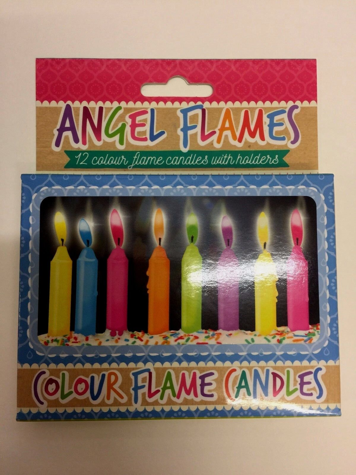Multi Coloured Flame Birthday Cake Angel Candles Party Novelty