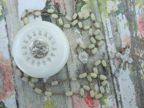 Vintage Catholic Rosary - cream white 4x6mm glass & Holy Communion Case