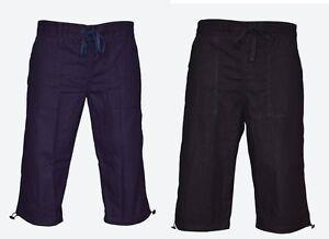 Mens-3-4-Length-Linen-Shorts-Casual-Pants-Summer-Holiday-Beach-Bottoms-S-M-L-XL