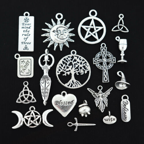 COL016 Wiccan Charm Collection Antique Silver Tone 18 Different Charms