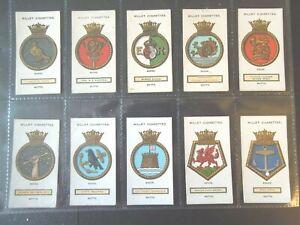 1925-Wills-Royal-UK-Navy-Ships-Badges-Tobacco-cards-complete-VG-EX-50-card-set