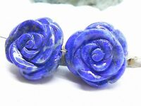 2 Rare Natural Blue Lapis Lazuli Hand Carved Rose Flower Beads Afghan 17.5mm