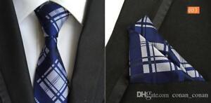 Bleu-et-argent-Tartan-fait-main-a-Motifs-Cravate-100-soie-et-pochette-Set