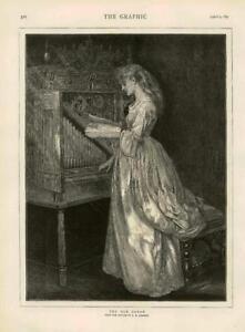 1873 - Antique Print FINE ART Old Organ Johnson Lady Music Organ Stool  (130)