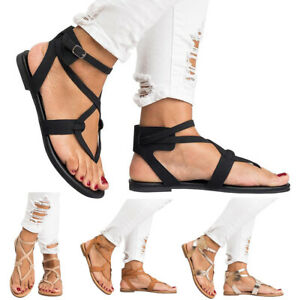 Womens Gladiator Sandals Ladies Summer Holiday Beach Ankle Strappy Shoes Size4-8