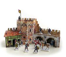 Cardboard model kit. The medieval town. Corner tower. Wargame landscape.