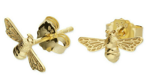 9CT YELLOW GOLD PLATED 925 HALLMARKED SILVER BABY HONEY BEE 11MM STUD EARRINGS