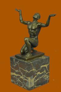 Abstract-Modern-Art-Mid-Century-Nude-Naked-Male-Athlete-Bronze-Sculpture-Sale