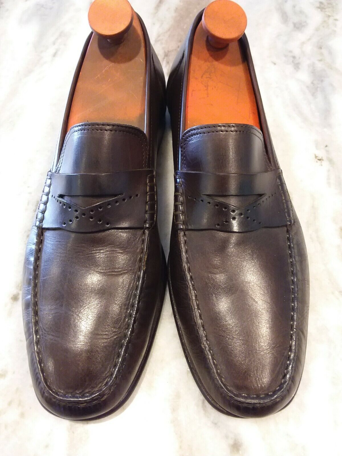 Mens Beautiful SANTONI Top Stitched Deep Chocolate Marronee Loafers. Dimensione 10D