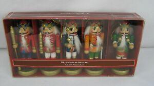 St-Nicholas-Square-Set-Of-5-Wood-NUTCRACKERS-Christmas-Ornaments-5-034-Tall