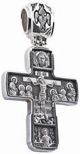 Russisch Orthodoxe 925 Silber Kreuz Anhänger JESUS CHRISTUS