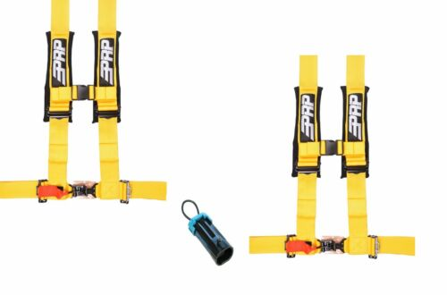 "PRP 4 Point Harness 3/"" Seat Belt PAIR Yellow Bypass Polaris RZR XP Turbo 1000"