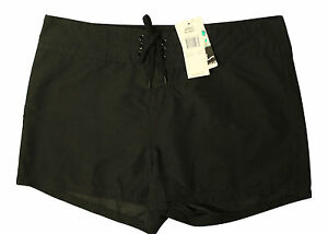 New-With-Tags-Island-Escape-Womens-Swim-Front-Tie-Board-Shorts-Black