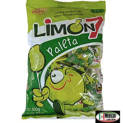 Paleta (Lollipop) Limon 7 salt and limon powder mexican candy 10oz-30pcs bag