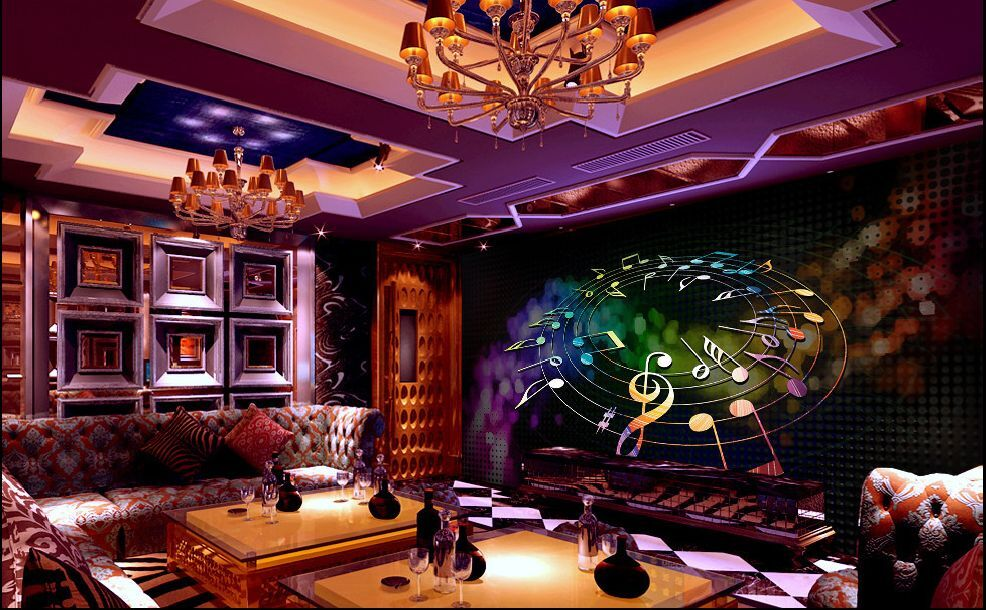 3D Musique Elégante Photo Papier Peint en Autocollant Murale Plafond Chambre Art