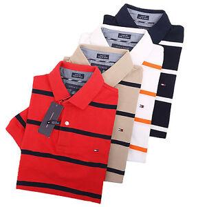 Tommy-Hilfiger-Men-039-s-Short-Sleeve-Striped-Pique-Polo-Shirt-0-Free-Ship