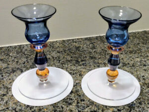 2-Comtemporary-Glassware-Color-Candlestick-holders-Decorative-Holiday-Blue-Amber