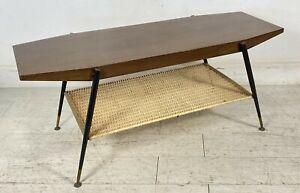TAVOLINO COFFEE TABLE DESIGN TAVOLO SCANDINAVO VINTAGE MID CENTURY LEGNO RATTAN