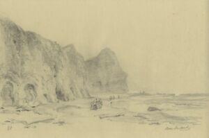 Ralph Stubbs, Beach Fishing at Sandsend – Late 19th-century graphite drawing
