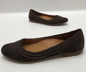 LL-Bean-Brown-Suede-Leather-Flats-Womens-Size-7-5-B-GREAT