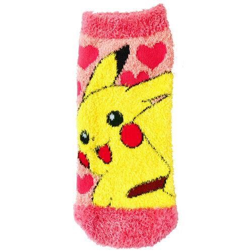 Pokemon Fluffy MOKOMOKO Warm Socks for Women Pikachu Heart 23-25 cm 1 Pair
