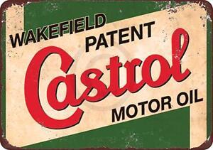 "Wakefield Castrol Motor Oil Vintage Rustic Retro Metal Sign 8"" x 12"""