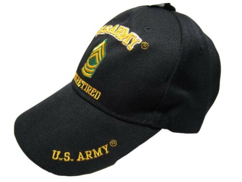 Army MSG Retired Military Black Embroidered Cap Hat CAP560D TOPW U.S