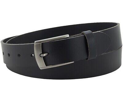 Büffel Ledergürtel 3,5 Cm Herren Damen Belt Echt Voll Leder Gürtel Schwarz Nr.11