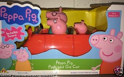 New Peppa Pig push and go car with Mummy, Daddy & Peppa Pig & sound damaged box