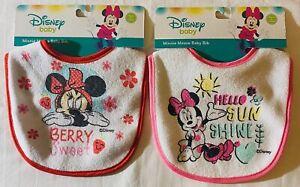 Lot Of 2 Brand New Disney Minnie Mouse Baby Bibs: Berry Sweet & Hello Sun Shine