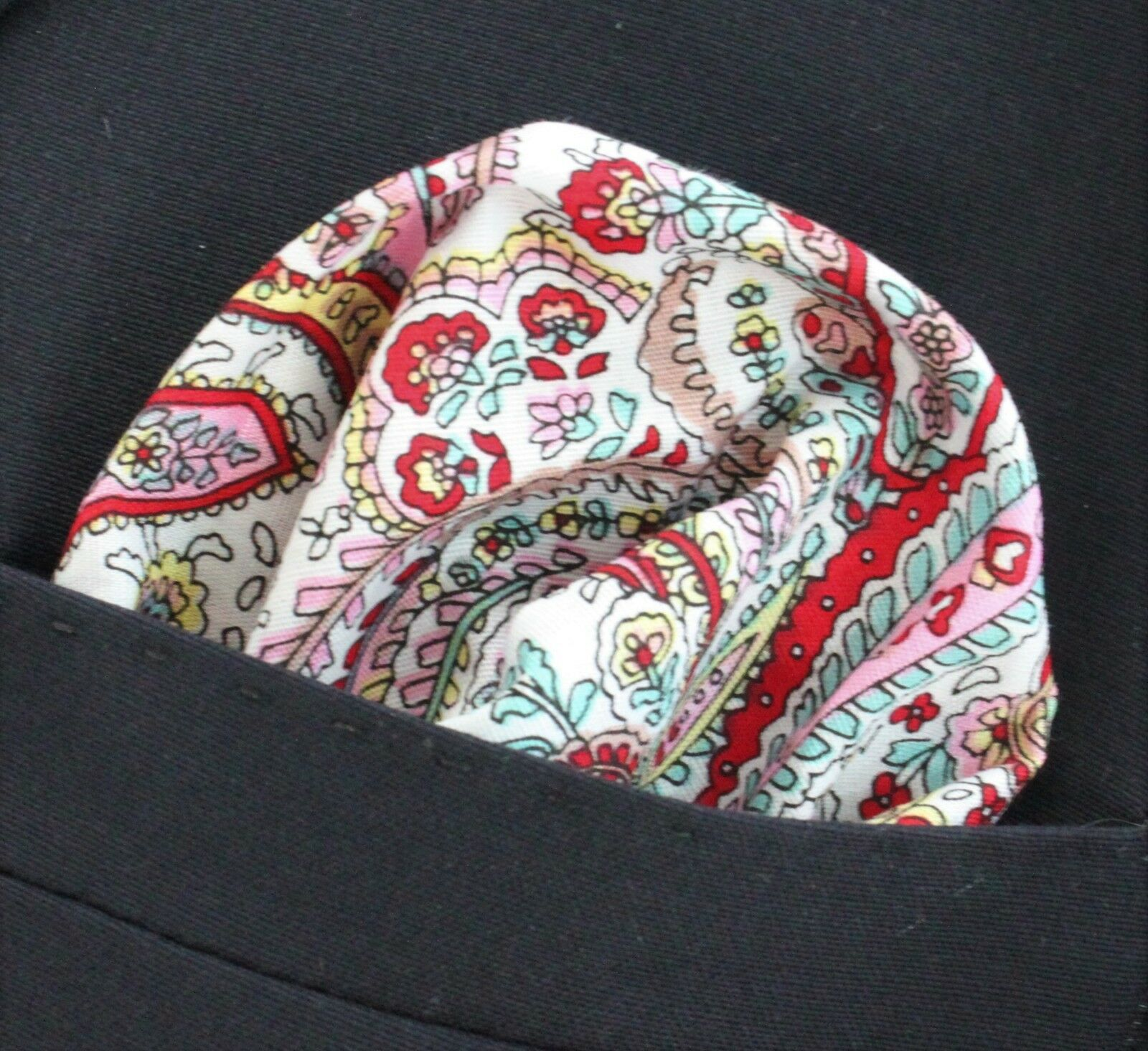 Hankie Pocket Square Cotton Handkerchief Bright Colour Paisley CH026