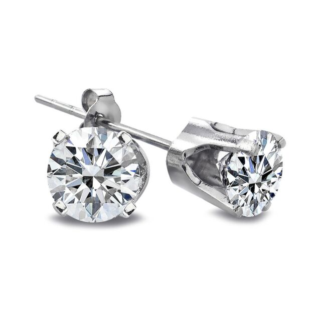 1/3 Ct Round Cut 14K White Gold Natural Diamond Stud Earrings