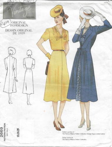 "R409 1939 Vintage VOGUE Sewing Pattern DRESS-COAT B34/""-36/""-38/"""