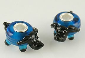 Piccolo Blu Cane Dog MURANO VETRO BEAD 925 Sterling Argento Beads Charms Charm  </span>