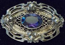 Vintage Sterling Silver Brooch Victorian Edwardian Purple Glass HEAVY