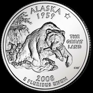 Alaska Statehood Quarter Dollar Coin 2008 P