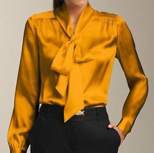 New 100% damen Satin Silk Business Career Dress Formal Shirts Blouse Bowknots