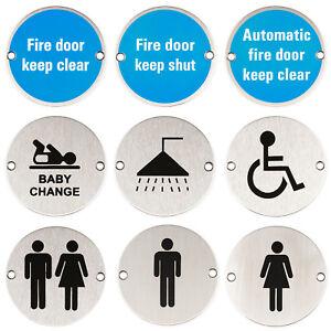 Stainless-Steel-Door-Sign-Round-Fire-Door-Shower-Ladies-Gents-Toilet-Baby-Change