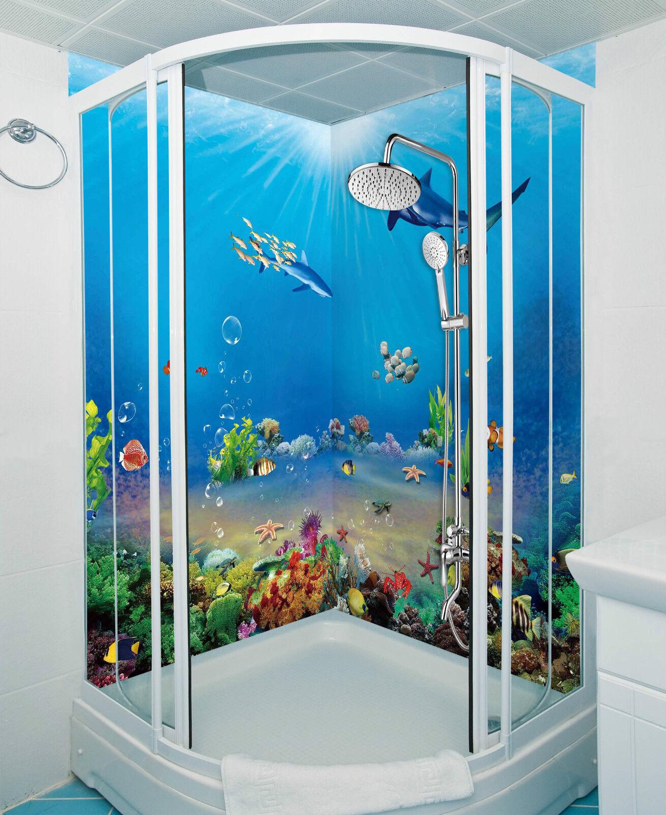 3D bluee Ocean World 092 WallPaper Bathroom Print Decal Wall Deco AJ WALLPAPER CA