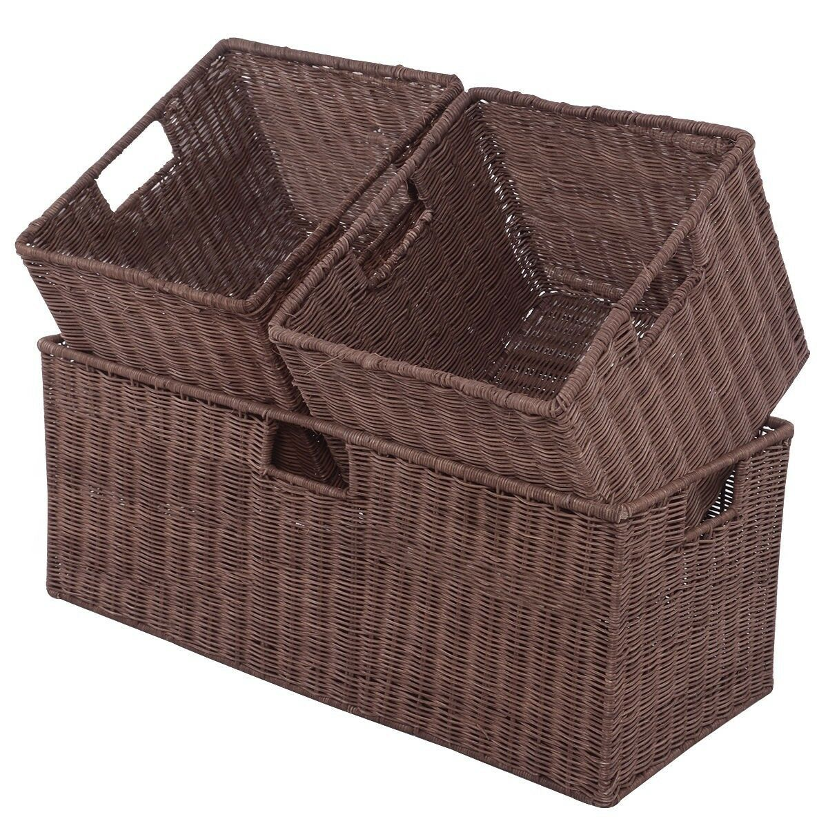 3PCS Nesting Rectangular Cube Rattan Storage Baskets Container 2 Large 1 Small