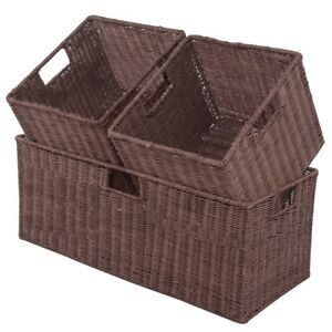 Image Is Loading 3pcs Nesting Rectangular Cube Rattan Storage Baskets Organizer