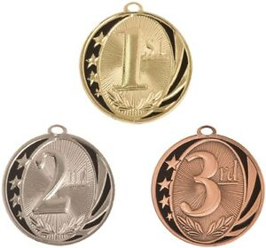 1ST 2ND 3RD PLACE MEDALS GOLD SILVER BRONZE W// NECK RIBBON STAR SERIES DESIGN