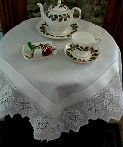 Image Is Loading VICTORIAN Antique Linen Lace Tablecloth Topper English Tea